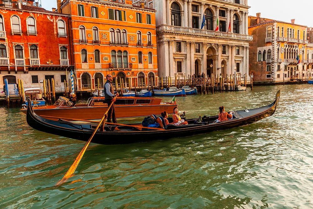 Women in carnival costume in a gondola on the Grand Canal,  Venice Carnival (Carnevale di Venezia), Venice, Italy