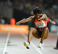France Ladies Triple Jumper Teresa Nzolo Meso at the Sainsbury's Anniversary Games at the Queen Elizabeth II Olympic Park, London, United Kingdom on 24 July 2015. Photo by Mark Davies.