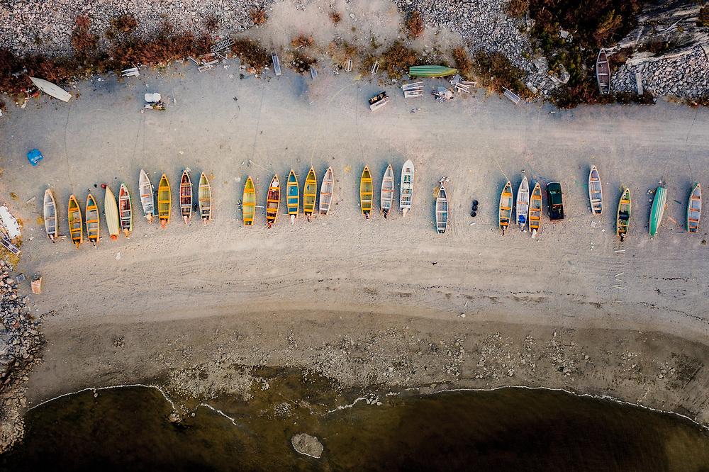 Boats at Longue Pointe, James Bay near Chisasibi, Quebec