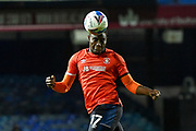 Luton Town midfielder Pelly-Ruddock Mpanzu (17) heads the ball during the EFL Sky Bet Championship match between Luton Town and Nottingham Forest at Kenilworth Road, Luton, England on 28 October 2020.