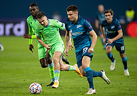 SAINT PETERSBURG, RUSSIA - NOVEMBER 04: Sergej Milinkovic-Savic and Jean-Daniel Akpa Akpro of SS Lazio chase down Andrei Mostovoy of Zenit St Petersburg during the UEFA Champions League Group F stage match between Zenit St. Petersburg and SS Lazio at Gazprom Arena on November 4, 2020 in Saint Petersburg, Russia. (Photo by MB Media)