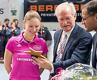 HAMBURG  (Ger) - Match 20,  for FINAL, LMHC Laren - Dinamo Elektrostal (Rus) (3-1).  Photo: umpire Michelle Meister got her award for best umpire of the world. right president DHF.   Eurohockey Indoor Club Cup 2019 Women . WORLDSPORTPICS COPYRIGHT  KOEN SUYK