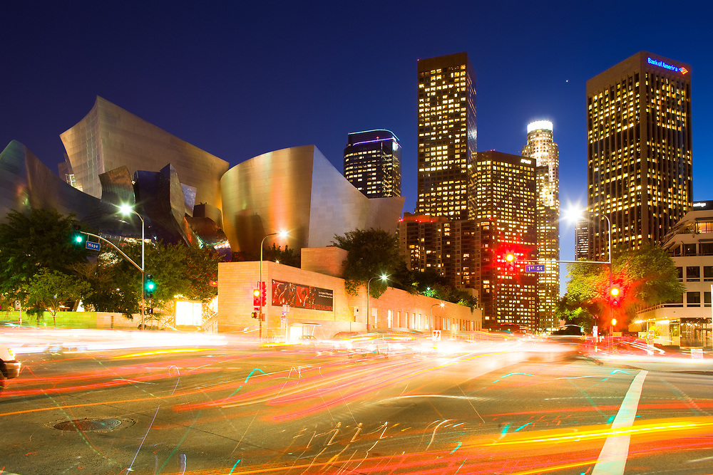 Los Angeles, California, United States - Cityscape of downtown Los Angeles with the Walt Disney Concert Hall designed by architect Frank Gehry.