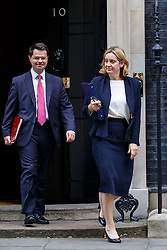 © Licensed to London News Pictures. 11/10/2016. London, UK. Northern Ireland Secretary JAMES BROKENSHIRE and Home Secretary AMBER RUDD attend a cabinet meeting in Downing Street on Tuesday, 11 October 2016. Photo credit: Tolga Akmen/LNP