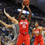 HARTFORD, CONNECTICUT- DECEMBER 19: Linnae Harper #15 of the Ohio State Buckeyes in action during the UConn Huskies Vs Ohio State Buckeyes, NCAA Women's Basketball game on December 19th, 2016 at the XL Center, Hartford, Connecticut (Photo by Tim Clayton/Corbis via Getty Images)