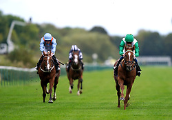 Zebelle ridden by William Buick (right) on their way to winning the Anderson Green Nursery at Nottingham Racecourse. Picture date: Wednesday October 13, 2021.