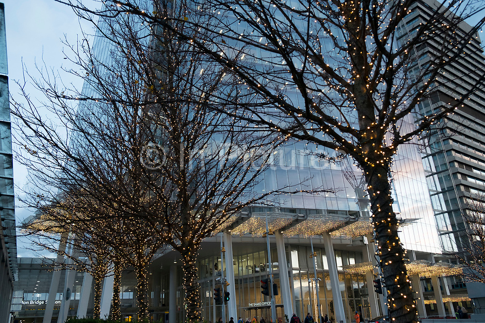 Christmas decorations outside The Shard in London, England, United Kingdom.