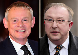 Undated file photos of Martin Clunes (left) and DCI Colin Sutton, as the Doc Martin actor has signed up to star as Sutton in a drama about the hunt to find one of Britain's most dangerous serial killers, Levi Bellfield.