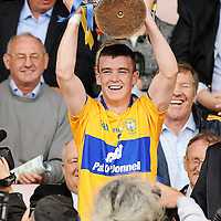 10 July 2011; Clare captain Tony Kelly lifts the cup after victory over Waterford. Munster GAA Hurling Minor Championship Final, Clare v Waterford, Pairc Ui Chaoimh, Cork. Picture credit: Diarmuid Greene / SPORTSFILE