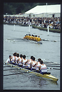 Henley on Thames. United Kingdom. Grand Challenge Cup/ Leander and University of London. 1990 Henley Royal Regatta, Henley Reach, River Thames. 06/07.1990<br /> <br /> [Mandatory Credit; Peter SPURRIER/Intersport Images] 1990 Henley Royal Regatta. Henley. UK