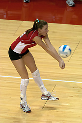 15 October 2005: Illinois State University Redbird Ashley Grubb sets the ball as she digs out a serve. The Fighting Irish of Notre Dame knocked out the Illinois State Redbirds in 4 games.  The match was filled with several action packed vollies. A resonable fan base was on hand for this rare Monday evening competition at Redbird Arena on the campus of Illinois State University in Normal IL