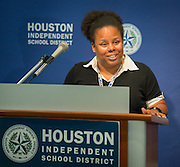 Houston ISD math teacher Kymberly Riggins comments on effective teacher retention during a news conference, October 30, 2013.