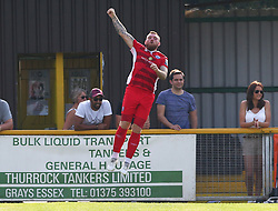 August 28, 2017 - London, United Kingdom - Billy Bricknell of Billericay Town celebrates scoring his sides fifth goal .during Bostik League Premier Division match between Thurrock vs Billericay Town at  Ship Lane Ground, Aveley on 28 August 2017  (Credit Image: © Kieran Galvin/NurPhoto via ZUMA Press)