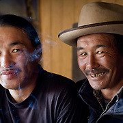 Portrait of two middle aged friends in Khangil Nuur (Khangil Nuur, Mongolia - Sep. 2008) (Image ID: 080915-0900461a)