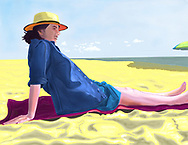 A woman reclining on the sand at Rockaway Beach during the summer.