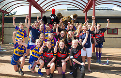 Red Roses captain Sarah Hunter and flanker Marlie Packer pose with young players from Clevedon and Avonmouth rugby clubs - Mandatory by-line: Paul Knight/JMP - 09/04/2017 - RUGBY - Cleve RFC - Bristol, England - Bristol Ladies v Saracens Women - RFU Women's Premiership Play-off Semi-Final