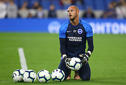 """Brighton & Hove Albion goalkeeper David Button prior to the Premier League match at the AMEX Stadium, Brighton. PRESS ASSOCIATION Photo. Picture date: Friday October 5, 2018. See PA story SOCCER Brighton. Photo credit should read: Gareth Fuller/PA Wire. RESTRICTIONS: EDITORIAL USE ONLY No use with unauthorised audio, video, data, fixture lists, club/league logos or """"live"""" services. Online in-match use limited to 120 images, no video emulation. No use in betting, games or single club/league/player publications."""