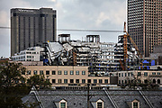 Ruins of the 58 metre Hard Rock Hotel which collapsed during construction and remained untouched for months on 11th March 2020 in New Orleans, Louisiana, United States. On October 12, 2019, the under-construction building partially collapsed, killing three workers and injuring dozens of others. As of 2020, the building site remains in its partially collapsed state, including with the bodies of two deceased workers. Government officials are debating the projects future and potential culpability of various people and organizations involved.