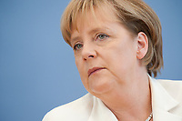 21 JUL 2010, BERLIN/GERMANY:<br /> Angela Merkel, CDU, Bundeskanzlerin, Pressekonferenz vor der Sommerpause, Bundespressekonferenz<br /> IMAGE: 20100721-02-027