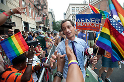 May 19, 2017 - File Photo - Former Rep. ANTHONY WEINER pleaded guilty Friday to transferring obscene material to a minor and will register as a sex offender.'I accept full responsibility for my conduct. I have a sickness, but I do not have an excuse,' Weiner said through pauses and bouts of tears in an emotional statement. 'I entered intensive treatment.' As part of the plea agreement, he also will have to forfeit his iPhone, surrender his passport, continue mental health treatment and is barred from having any contact with the girl. Pictured: 2013 - New York, U.S. - Mayoral Candidate Anthony Weiner at annual NYC LGBT Pride March. (Credit Image: © Bryan Smith/ZUMAPRESS.com)