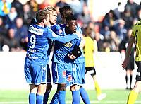 Fotball ,  OBOS-Ligaen<br /> 07.04.19<br /> Nammo Stadion<br /> Raufoss v Sandefjord  0-2<br /> Foto :  Dagfinn Limoseth , Digitalsport<br /> Lars Pontus Engblom , Sandefjord gratuleres etter 0-1 scoringen