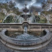 City Hall Park fountain in Manhattan, New York.