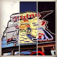 An Instagram of the Minnie and Paul sign at taken at three different times at Target Field in Minneapolis, Minnesota.