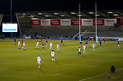 Bath Rugby's fly-half Rhys Priestland kicks a penalty during a Gallagher Premiership Round 9 Rugby Union match, Friday, Feb 12, 2021, in Leicester, United Kingdom. (Steve Flynn/Image of Sport)