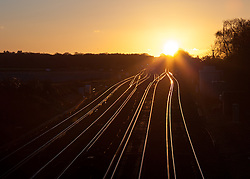© Licensed to London News Pictures. 19/01/2014. Worting Junction, Worting Village, Hampshire, UK. Sunset over Worting Junction in Hampshire, UK. Photo credit : Rob Arnold/LNP
