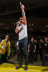 Dice Magazine's Dean Micetich addresses the crowd at the 26th Annual Yokohama Hot Rod and Custom Show 2017. Yokohama, Japan. Sunday December 3, 2017. Photography ©2017 Michael Lichter
