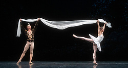 La Bayadere <br /> A ballet in three acts <br /> Choreography by Natalia Makarova <br /> After Marius Petipa <br /> The Royal Ballet <br /> At The Royal Opera House, Covent Garden, London, Great Britain <br /> General Rehearsal <br /> 30th October 2018 <br /> <br /> STRICT EMBARGO ON PICTURES UNTIL 2230HRS ON THURSDAY 1ST NOVEMBER 2018 <br /> <br /> Marianela Nunez as Nikiya <br /> A Bayadere and a temple dancer <br /> <br /> Vadim Muntagirov as Solor <br /> A warrior <br /> <br /> <br /> Photograph by Elliott Franks Royal Ballet's Live Cinema Season - La Bayadere is being screened in cinemas around the world on Tuesday 13th November 2018 <br /> --------------------------------------------------------------------