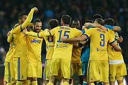 December 1, 2017 - Naples, Italy - Gonzalo Higuain of Juventus celebrating with the teammates during the Serie A match between SSC Napoli and Juventus at Stadio San Paolo on December 1, 2017 in Naples, Italy. (Credit Image: © Matteo Ciambelli/NurPhoto via ZUMA Press)