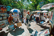 FRANCE, PARIS, MONTMARTRE an artist market in the Place du Tertre  in the heart of the Montmartre area