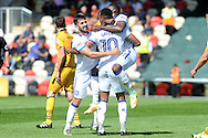 Mansfield's Matt Green (10) celebrates with his team mates after he scores his teams 1st goal. Skybet EFL league two match, Newport county v Mansfield Town at Rodney Parade in Newport, South Wales on Saturday 6th August 2016.<br /> pic by Carl Robertson, Andrew Orchard sports photography.