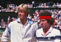 Peter Fleming and John McEnroe (USA). Wimbledon tennis Championships 1979 Mens Doubles  Credit : Colorsport / Andrew Cowie
