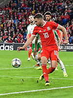 Football - 2018 / 2019 UEFA Nations League B - Group Four: Wales vs. Republic of Ireland<br /> <br /> Aaron Ramsey of Wales back flicks the ball inside, at Cardiff City Stadium.<br /> <br /> COLORSPORT/WINSTON BYNORTH