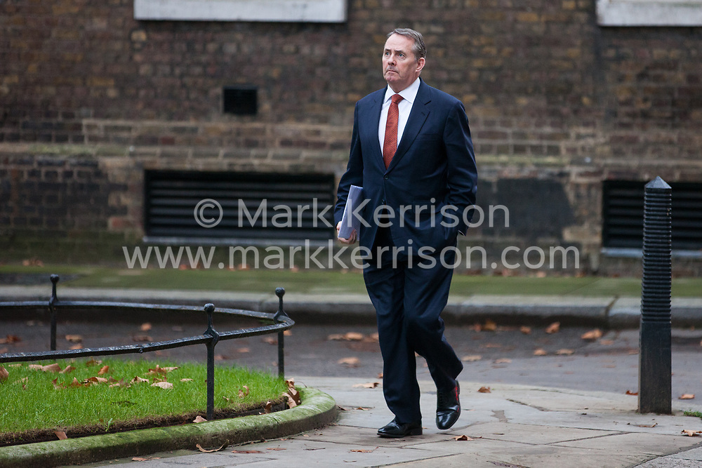 London, UK. 6th December, 2018. Liam Fox MP, Secretary of State for International Trade and President of the Board of Trade, arrives at 10 Downing Street for a special Cabinet meeting called to discuss the latest developments regarding Brexit.