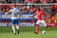 Charlton Athletic defender Naby (Mouhamadou-Naby) Naby Sarr (23) passing the ball during the EFL Sky Bet League 1 match between Charlton Athletic and Rochdale at The Valley, London, England on 4 May 2019.