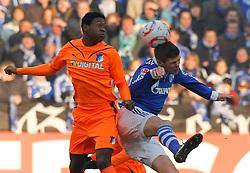 29-01-2011 VOETBAL: SCHALKE 04 - 1899 HOFFENHEIM: GELSENKIRCHEN<br /> David Alaba (Hoffenheim #8) vs Klaas-Jan Huntelaar (Schalke NED #25)<br /> ***NETHERLANDS ONLY***<br /> ©2010- FRH-nph / Scholz