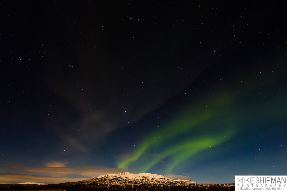 Aurora Borealis over Bjarnafell, near Geysir