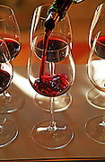 Wine poured in tasting glasses. Chateau Sansonnet, Saint Emilion, Bordeaux, France
