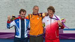 07-08-2012 WATERSPORT: OLYMPISCHE SPELEN 2012  RS-X MEDALRACE: WEYMOUTH<br /> Dempsey Nick GBR Dorian van Rijsselberghe en Miarczynski Przemyslaw POL<br /> Dorian van Rijsselberghe wint de gouden medaille<br /> ***NETHERLANDS ONLY**<br /> ©2012-FotoHoogendoorn.nl