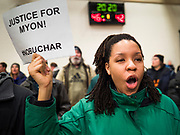 01 MARCH 2020 - ST. LOUIS PARK, MINNESOTA: Black Lives Matter protesters chant against Sen Amy Klobuchar at St. Louis Park High School. Dozens of Black Lives Matter (BLM) protesters disrupted Sen. Amy Klobuchar's last presidential election rally in Minnesota before Super Tuesday. Almost 500 Klobuchar supporters came to hear Sen. Klobuchar, when the BLM protesters marched into the hall and took control of the stage. Klobuchar cancelled the event about an hour after the BLM protesters entered the hall. The protesters targeted Klobuchar because while she was the Hennepin County Attorney, she oversaw the conviction of Myon Burrell, a black teenager accused and convicted of murder. Evidence has come to light since his conviction that suggests he was wrongly convicted. His conviction has become a flashpoint in Minnesota politics.      PHOTO BY JACK KURTZ
