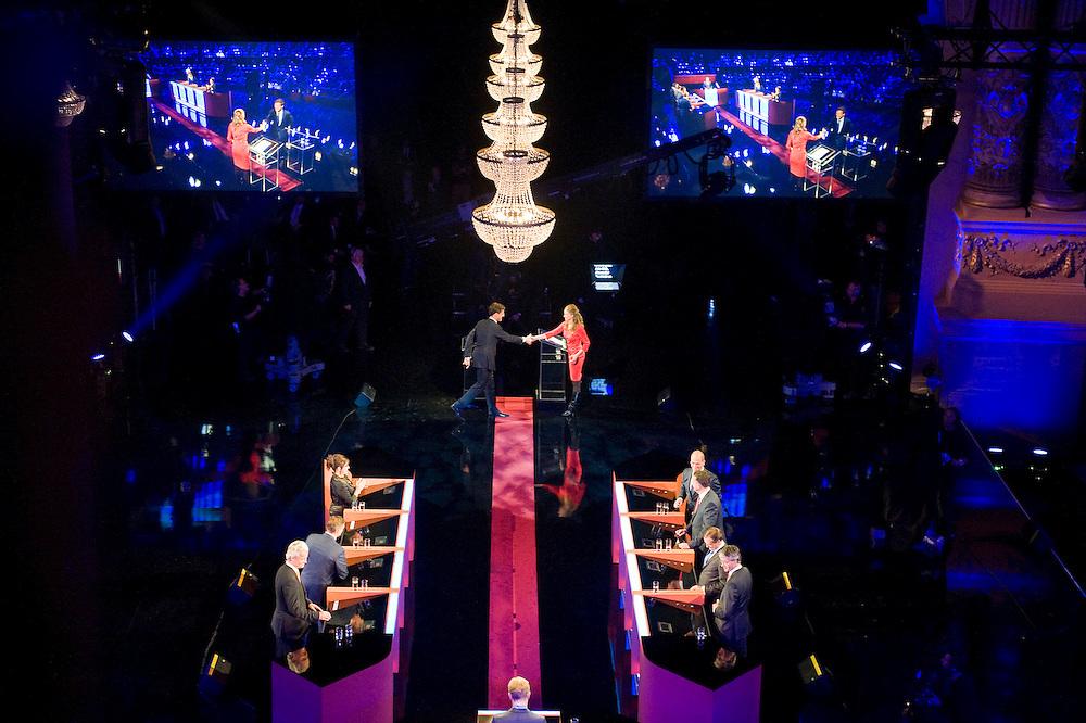 Nederland, Amsterdam,  4 sep 2012.RTL lijsttrekkersdebat in Carre..Rutte wordt aan de tand gevoeld.Foto(c): Michiel Wijnbergh