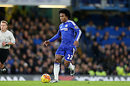Willian of Chelsea running with the ball. Barclays Premier league match, Chelsea v AFC Bournemouth at Stamford Bridge in London on Saturday 5th December 2015.<br /> pic by John Patrick Fletcher, Andrew Orchard sports photography.