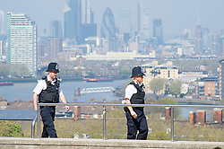 ©Licensed to London News Pictures 15/04/2020  <br /> Greenwich, UK. Police on patrol in Greenwich park, Greenwich, London as people get out of the house from coronavirus lockdown to exercise for an hour. Photo credit:Grant Falvey/LNP