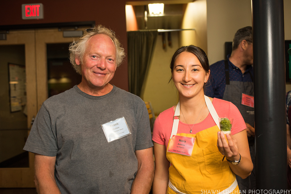 Plant breeder Frank Morton of Wild Garden Seed and pastry chef Nora Antene of Le Pigeon showing off Frank's parsley breeding work with a raw tasting and Antene's creation - a parsley and apple granita with buttermilk mousse made with his 'Macedonian Lanceleaf' parsley. Frank's breeding work with this parsley and his quinoa, kale and lettuce is supported by Seed Matters.
