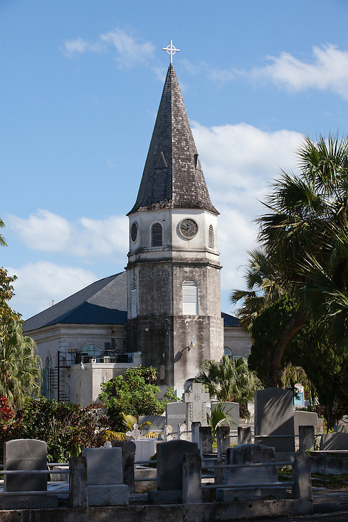 Oldest church in Nassau Bahamas in a historic graveyard is a tourist attraction in the downtown area.