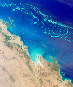 The Great Barrier Reef along the northeastern coast of Australia. August 26, 2000.