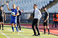 Julio Santiago giving instructions to players during the Liga NOS match between Belenenses SAD and Maritimo at Estadio do Jamor, Lisbon, Portugal on 17 April 2021.